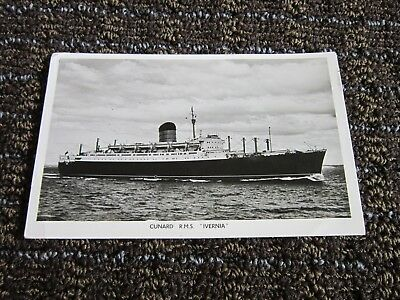 Cunard R.M.S Ivernia B&W photo postcard USED 1956 Canada Posted