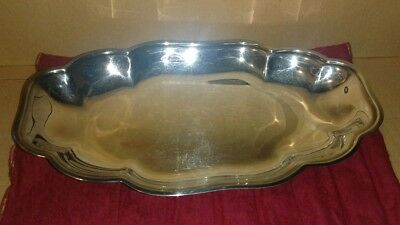 Silverplate Footed Tray English Silver Mfg. Corp. Leonard 12x7 USA Chippendale