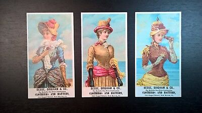 (3) 1880's Victorian Women's Fashion Advertising Cards ~Great Colors & Graphics