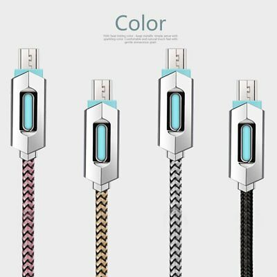 1M LED USB Charger Cable Nylon Braided Cable Charging Data Cable for Android TOP