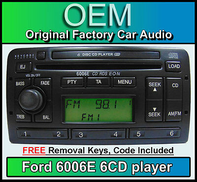 Ford Fiesta 6 Disc changer radio, Ford 6006 6 CD player car stereo + keys & code
