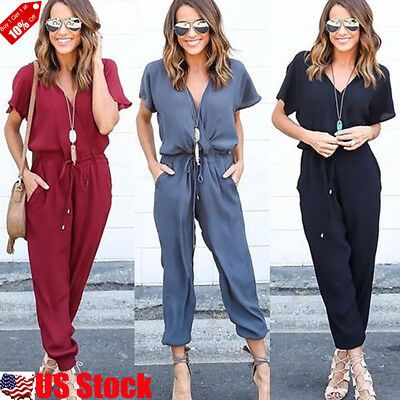 Womens Short Sleeve Sexy Slim V Neck Evening Party Playsuit Romper Long Jumpsuit