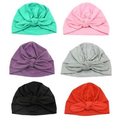 Newborn Baby Hat Kids Ear Knot Cap Cotton Summer Soft Turban Bunny Head Wrap UK