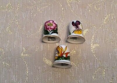 Rare And Retired  Botanic Garden Coll. Club Thimble Set Of 3