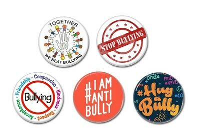 5 x Stop Bullying buttons (badges, pins, 25mm, anti, patches,stickers)