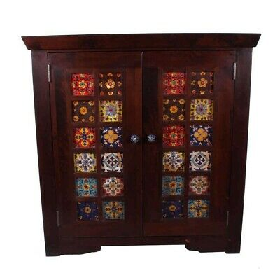 Indian Solid-wood Cabinet with Hand painted Tiles & Double Door XL