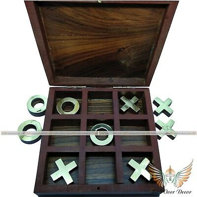 Collectible Vintage Wood & Brass Handmade Antique Tic Tac Toe Travel Game