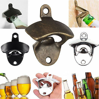 1PC Wall Mounted Retro Bottle Beer Coke Cap Metal Fixed Opener Bar Kitchen Craft