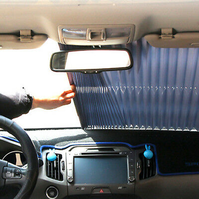 Car Retractable Curtain w/ Sucker UV Protection Rear Windshield Visor Auto Shade