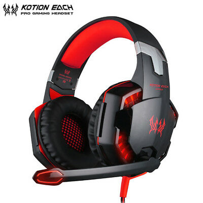 EACH G2000 Stereo Bass Surround Gaming Headset for PS4 New Xbox One PC Red Mic