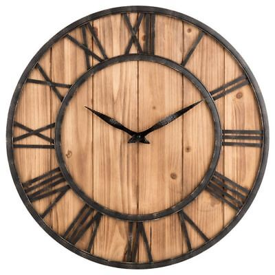 Wall Clock,  Round Silent Wooden Wall Clock Decorative Clock for Living Roo J3A7