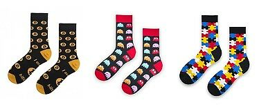 Set Bunte Socken Socks Happy Herren Geschenk Gift Puzzle Bitcoin Pac-Man Bunt