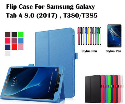 """Flip Leather Case Cover/Screen Protector For Samsung Galaxy Tab A 8.0""""(2017)T380"""