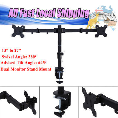Dual Monitor Stand Mount 45°Tilt Angle LCD TV Screen Desk Mount Bracket Holder