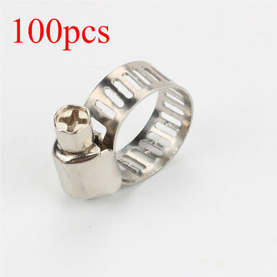 100Pcs Adjustable Stainless Steel Drive Hose Clamp Fuel Line Worm Clips 6mm-12mm