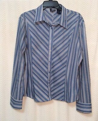 Women's Blue/White Striped DCC SHIRT Size XL Missy Long Sleeve Button Down ~ EUC