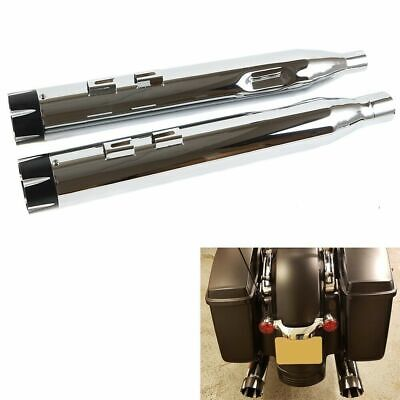 "4"" Chrome Slip-On Mufflers Black Tip Exhaust Pipe For 2017-UP Harley Touring"