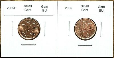Canada 2005P and 2005 Small Cents Gem BU UNC Set!!
