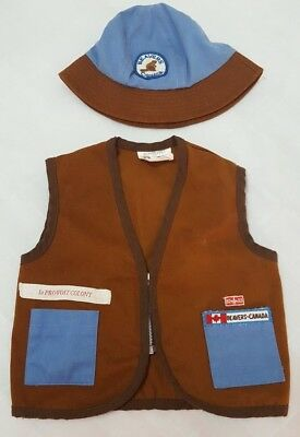 Beavers Scouts Canada Vest & Hat Vintage 1st Provost Colony Brown Blue Size 7
