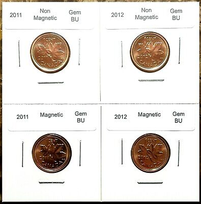 Canada 2011 and 2012 Magnetic & Non-Magnetic Small Cents BU UNC Gem Set!!