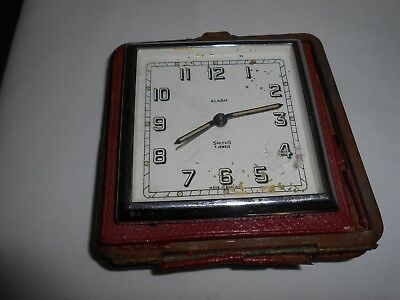 Vintage Smiths 8 Day 7 Jewels Travel Alarm Clock Movement For Spares Or Repair