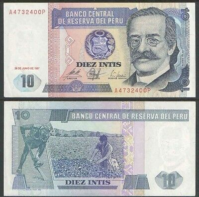 PERU 10 Intis, 1987, P-129, UNC World Currency