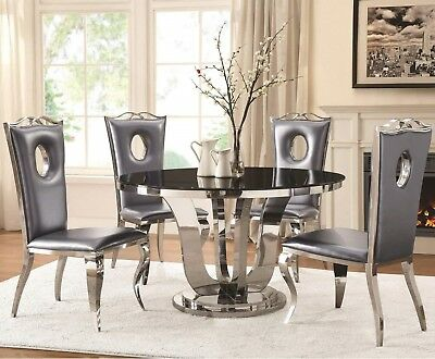 5 Pc Formal Round Dining Set European Style Glass Top Table Chairs Furniture