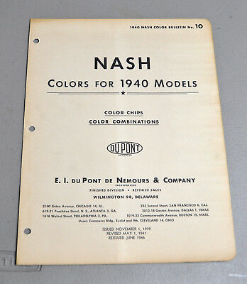 1940 NASH Paint COLOR chip catalog sheets DU PONT LOT 152 car brochure