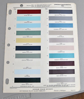 1961  LINCOLN CONTINENTAL Paint chip COLOR catalog sheets DITZLER LOT 118 car