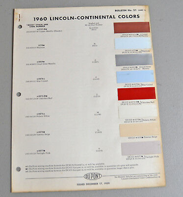 1960  LINCOLN CONTINENTAL Paint chip COLOR catalog sheets Du Pont LOT 117 car