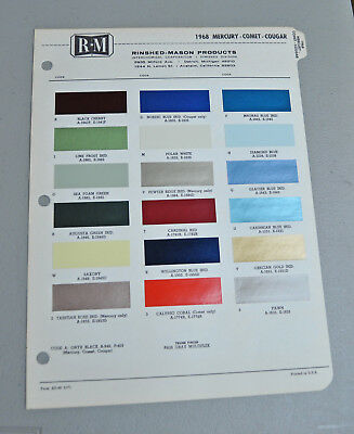 1968 MERCURY COMET COUGAR Paint COLOR chip catalog sheets RM LOT 140 car