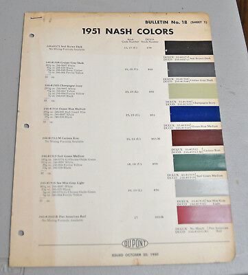 1951 NASH Paint COLOR chip catalog sheets DU PONT LOT 161 car