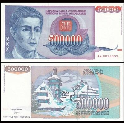 YUGOSLAVIA 500000 (500 Thousand) Dinara, 1993, P-119, Inflated World Currency