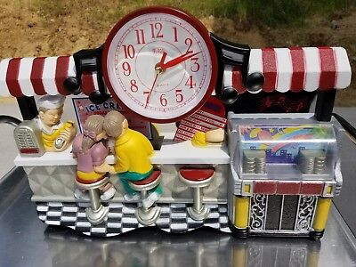 """17"""" Diner Ice Cream Fountain Musical JukeBox 3D Scene Wall Clock GREAT Condition"""