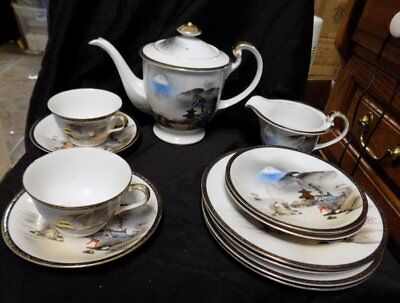 12 Pieces~Vintage Tea Set~Oriental~Kutani~Hand Painted Japan~Not Complete