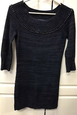 Armani Exchange Women's Dress Marled Black Sweater Knit  3/4 Sleeve Chain AX