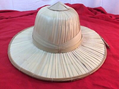 Vintage Coolie Hat Asian Sun Rice Patty Bamboo Straw Chinese Japan