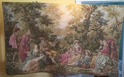 "Large Nice Antique  French wall tapestry musicians outdoors 64"" x 40"""