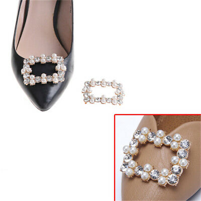Shoe Clips Rhinestones Metal Faux Pearl Bridal Prom Shoes Buckle Decor New DE
