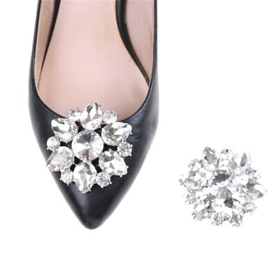 Crystal Rhinestones Shoe Clips Women Bridal Prom Shoes Buckle Decor New DE