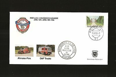 1986 First IAFC Fire Chiefs Conference in Europe FDC ~ The Netherlands