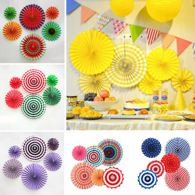 6x Wedding Birthday Party Paper Fan Flowers Paper Table Hanging Wall Decor DIY
