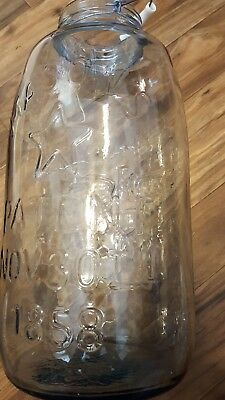 Large Mason's Patent Nov 30Th 1858 Eagle Star Clear 4 Or 5 Gallon Pickle Jar #2