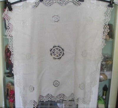 """Vintage Off White Crochet Lace & Drawn Thread Work Tablecloth - 34"""" x 35"""""""