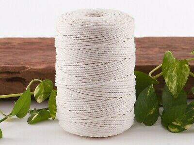 macrame rope 3mm 250m 1kg string cord cotton 3 strand twisted natural beige