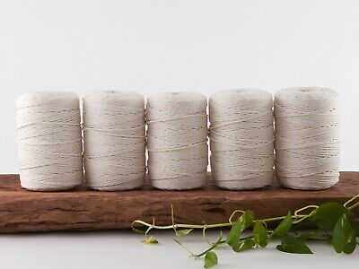 macrame rope 3mm crochet 3ply string cord cotton 3 strand twisted natural beige