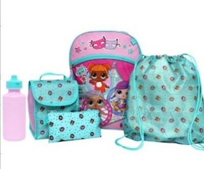 LOL Surprise Doll Backpack Lunch Box Tote Water Bottle 5 pc School Supplies Set