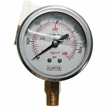 "Pressure Gauge Hydraulic Liquid Filled Stainless Steel 0-5000 PSI /55mm (22"")"