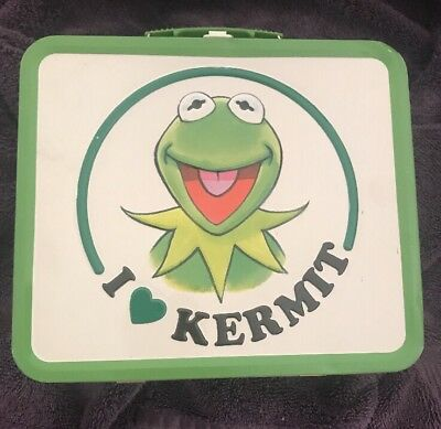 I Love Kermit Lunch Box Muppets 8x7x4 Metal Tin Kermit the Frog Display Piece