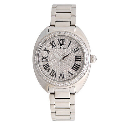 Croton Women's CN207564SSPV Quatz Crystal Accents Silver-Tone 37mm Watch